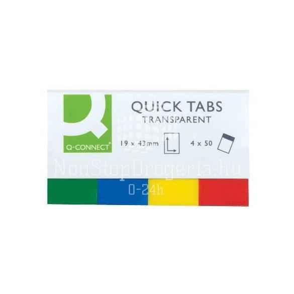 Öntap.oldaljelölő átlátszó színes szélű 19x43mm 4x40lap Q-Connect KF01225/KF01907