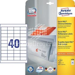 Etikett címke univerzális 4780 fehér QuickPEEL 48,5x25,4mm 25ív Avery