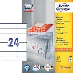 Etikett címke univerzális 3475 fehér 70x36mm Avery