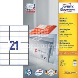 Etikett címke univerzális 3481 fehér 70x41mm Avery