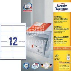 Etikett címke univerzális  3659 fehér QuickPEEL 97x42,3mm Avery