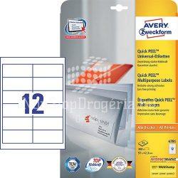 Etikett címke univerzális 4781 fehér QuickPEEL 97x42,3mm 25ív Avery