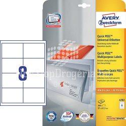 Etikett címke univerzális 4782 fehér QuickPEEL 97x67,7mm Avery
