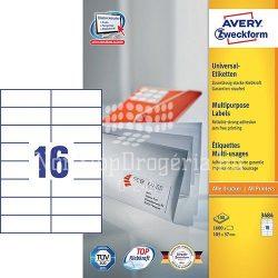Etikett címke univerzális 3484 fehér 105x37mm Avery