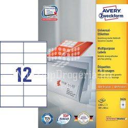 Etikett címke univerzális 3424  fehér 105x48mm Avery