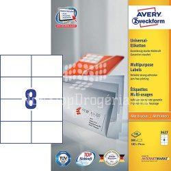 Etikett címke univerzális 3427 fehér 105x74mm Avery