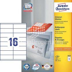 Etikett címke univerzális 3423 etikett fehér 105x35mm Avery