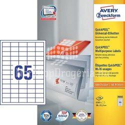 Etikett címke univerzális 3666 fehér QuickPEEL 38x21,2mm 100ív Avery