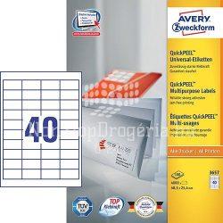 Etikett címke univerzális 3657 fehér QuickPEEL 48,5x25,4mm 100ív Avery