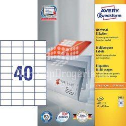 Etikett címke univerzális 3651 fehér 52,5x29,7mm 100ív Avery