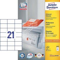 Etikett címke univerzális 3652 fehér 70x42,4mm 100ív Avery
