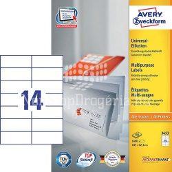 Etikett címke univerzális 3653 105x42,3mm 100ív Avery