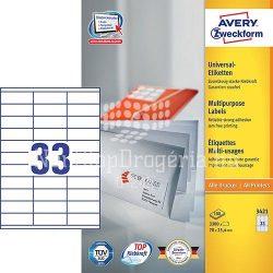Etikett címke univerzális 3421 70x25,4mm 100ív Avery