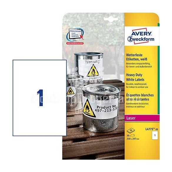 Etikett címke speciális L4775-20 időjárásálló 210x297mm 20ív polieszter vízálló Avery
