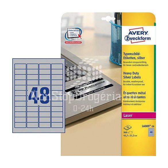 Etikett címke speciális L6009-20 ipari ezüst poliészter 45,7x21,2mm 20ív Avery