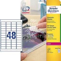 Etikett címke speciális L6113-20 biztonsági fehér poliészter 45,7x21,2mm 20ív Avery