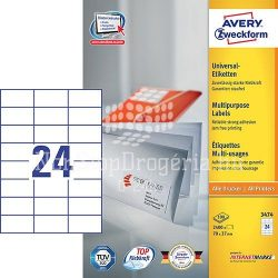 Etikett címke univerzális 3474 etikett fehér 70x37mm Avery