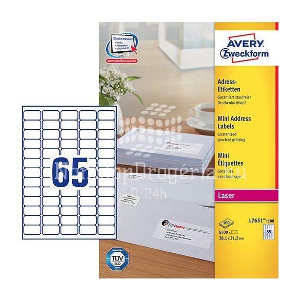 Etikett címke speciális  L7651-100 mini QuickPEEL 38,1x21,2mm Avery