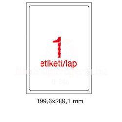 Etikett A2412 199,6x289,1mm 100ív kerekített sarkú Apli