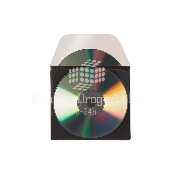 CD/DVD tároló tok középelválasztóval és ráhajtható lezáró-füllel 3L 127×127mm 10db/csom