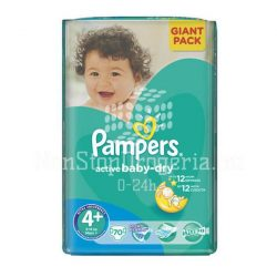 PAMPERS ACTIVE BABY DRY PELENKA MAXI PLUS  9-16KG 70DB