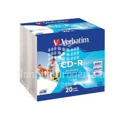 CD-R Verbatim 700MB 52x nyomtatható 20db slim AZO 43424
