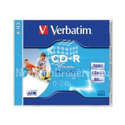 CD-R Verbatim 700MB 52x nyomtatható AZO 43325