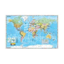 Falitérkép fémléces 140x100cm A Föld országai zászlókkal