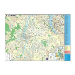 Falitérkép fémléces 140x100cm Budapest térkép